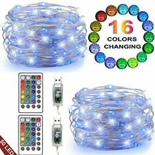 LED String Lights, 2 Set 50 Led USB Powered Multi Color Changing String Lights