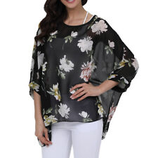 Women Lagenlook Chiffon Tunic Top Plus Size 16 18 20 Beach Cover Up Blouse Shirt
