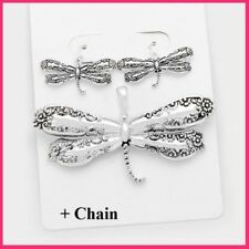 """Big Silver Metal Spoon Handle Dragonfly Pendant Earrings + 23"""" Chain Necklace"""