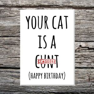 funny rude obscene cute birthday card cat themed, your cat is a c*nt black/white