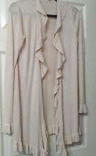 REBECCA TAYLOR RUFFLE FRONT LONG CARDIGAN SWEATER - SIZE MEDIUM - NWOT