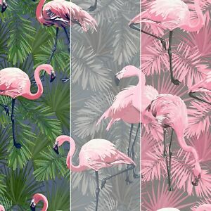 Flamingo Wallpaper Birds Animals Feathers Tropical Pink Quirky Exotic Wallpaper