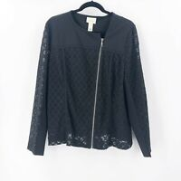 Chicos Size 3 or XL Black Lace Zip Up Cardigan Jacket Rayon Blend Stretch