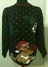 Vintage M/L Ugly Black Red Christmas Sweater Teddy Bear Lots of GLITTER  USA