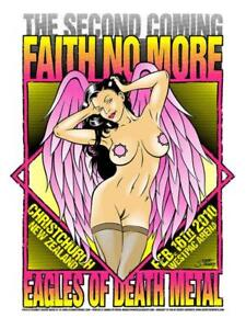FAITH NO MORE silkscreened poster Christchurch 2010 by Stainboy