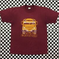 VTG Jerzees Funny School Bus Driver Graphic T Shirt Unisex Adult Large Red
