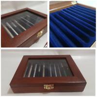 Cofanetto per 10 Penne da collezione vetrinetta in legno Mogano Coins&More