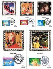 17 NOVEMBER 1987 CHRISTMAS SET OF ALL 5 BENHAM SMALL SILK FIRST DAY POSTCARDS