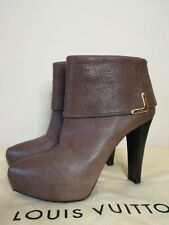 Authentic Louis Vuitton brown leather high heels boots 38.5 EU