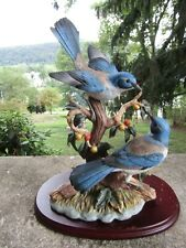 "Vintage Homco 1997 Figurine Classical Porcelain Orchard Gathering Scrub Jays ~7"""