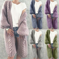 Chunky Sleeve Winter Long Knitted Coat Women Jumper Sweater Warm Autumn Cardigan