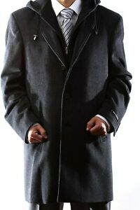 Men's Single Breasted Luxury Wool Three Quarter Length Topcoat with Hood