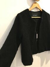 Alpha 60 Tamsin Black Cropped Waist and Sleeve Wool Blend Front Zip Jacket