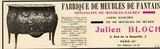 BLOCH JULIEN FABRIQUE MEUBLES FANTAISIE PARIS PUBLICITE PUB 1929 FRENCH AD