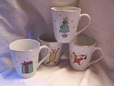 4  Mugs MERRY CHRISTMAS PATTERN  MERRY BRITE Santa Tree Reindeer Present