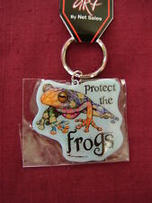 """Key Ring   """"PROTECT THE FROGS"""",  Metal Key Ring,  size 2"""" x 2"""",   #CH 334"""