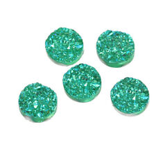 10 pcs. 12mm Drusy Druzy Resin Round Cabochons - Sparkly Green - Circle