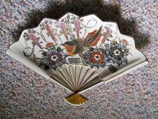 """VINTAGE Fan Shaped Trinket Dish Plate Platter Birds Flowers Gold Trim 10"""" Wide"""