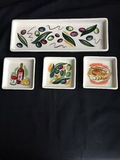 Olive Decorated Serving Tray & 3 Plates Olive Oil Dipping Set