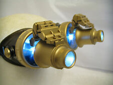 Pro Steampunk Goggles Cosplay SCI-FI Gamer Costume Top Hat LED Blue lenses 20X