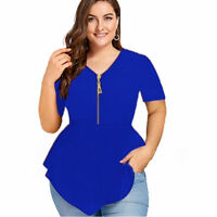 Plus Size Women Short Sleeve Zip V Neck Blouse Top Irregular Party Tunic T-shirt