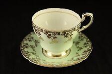 Vtg Double Warrant Paragon Fine Bone China Mint Green & Gold Tea-Cup & Saucer