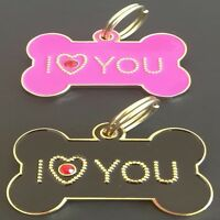 'I Love You' Bling Bone Shape Engraved Pet Tags DOG CAT ID Disc Disk Diamontee