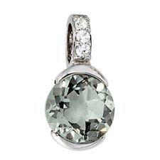 Anhänger 585 Gold Weißgold 3 Diamanten Brillanten 1 grüner Amethyst Goldanhänger