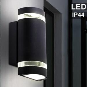 LED Außen Wand Leuchte UP DOWN Strahler Garten Beleuchtung ALU Hof Lampe schwarz