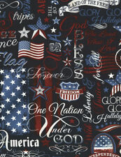 Patriotic Words-Flags-Navy B/G-Timeless Treasures-Patriotic-Quilts of Valor-BTY