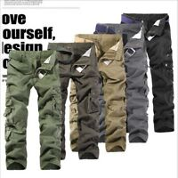 Fashion Mens Work Trousers Military Army Cargo Camo Combat Multi-pocket Pants