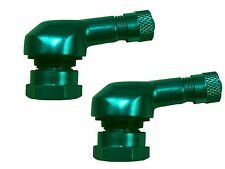 2x GREEN 90 Degree angle motorbike motorcycle tyre valves 11.3mm for KAWASAKI