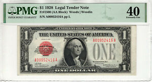 1928 $1 LEGAL TENDER RED SEAL FR.1500 PUERTO RICO NOTE PMG EXTRA FINE EF 40(416A