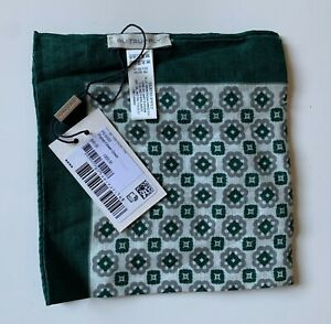 NWT Suitsupply Pocket Square Flower Pattern Green 100% Linen (PS19103)