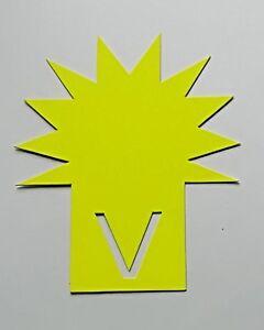 10 Stecksterne 11,3 x 14 cm aus Karton leuchtgelb Preisschild Werbesymbole deko