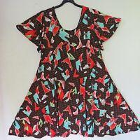 MAGNA süßes Stretch Tunika Kleid Lagenlook A-Linie schwarz-bunt 48-50 (4)