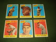GROUP OF 6- TOPPS 1958 ALLSTAR BASEBALL CARDS, AARON, BANKS, SPAHN, APARICIO,ETC