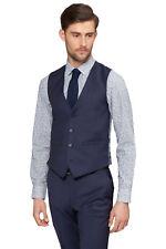 Moss 1851 Mens Tailored Fit Waistcoats Various Colours Wool Blue 38 Regular