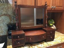 Vintage Table Top Mirror Vanity Dresser Shaving Jewelry Stand With Drawer