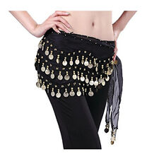 Black 3 Rows Belly Dance Hip Skirt Scarf Wrap Chiffon Belt with Gold Coins US