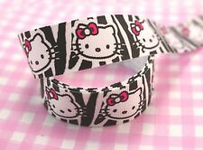 2 METRI Carino Hello Kitty Zebra Print KAWAII GROS Grain Nastro 20mm-UK Venditore