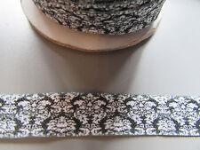 Damask black & white Fold Over Elastic Ribbon 1.6cm x 1 Metre Sewing/Crafts/Cake