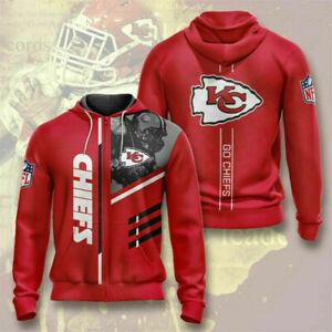 Kansas City Chiefs Hoodie Fan's Hooded Sweatshirts Casual Zipper Jacket Coat