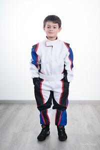 Go Kart Cordura Suit Kids-White-Blue-Black- red piping- Free Gloves & Balaclava