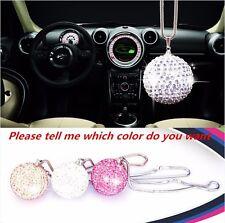 White Ablaze Crystal Ball Car Mirror PendantJewelry Decor Hanging Ornament