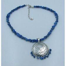 QVC .925 Sterling Silver Natural Blue Denim Lapis Nugget Concho Necklace