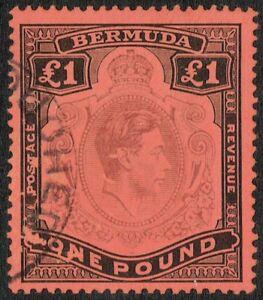 Bermuda 1952 SG121 £1 Purple and Black Fine Used Eighth Printing.