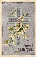 Easter Cross & Lilies - 1909 - EMBOSSED & SILVERED