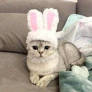 Cute Cosplay Costume for Cats Dogs Halloween Bunny Headdress Rabbit Hat for Cats