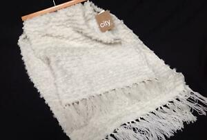 "NWT City Chic ivory off white throw blanket cozy bumpy chunky texture 62"" x 52"""